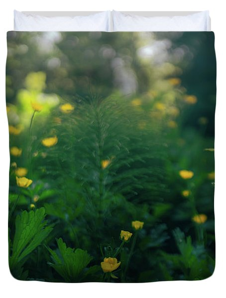 Duvet Cover featuring the photograph Golden Blooms by Gene Garnace