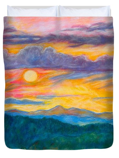 Golden Blue Ridge Sunset Duvet Cover