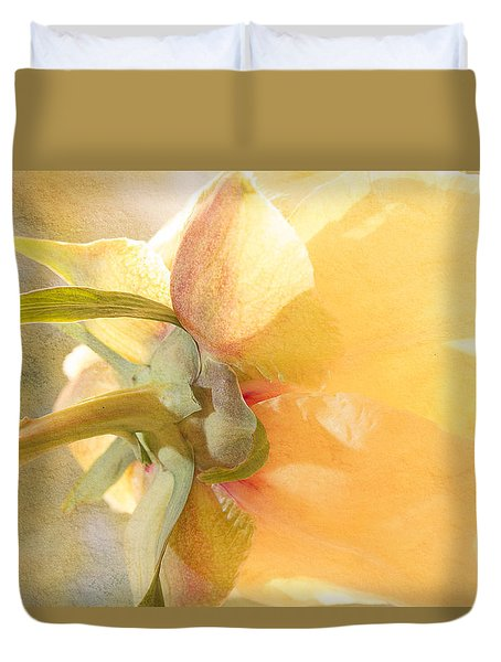 Golden Bowl Tree Peony Bloom - Back Duvet Cover by Patti Deters