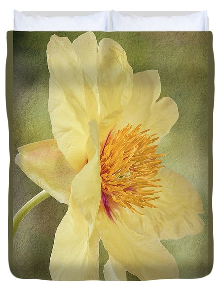 Golden Bowl Tree Peony Bloom - Profile Duvet Cover