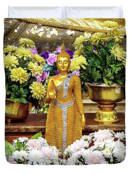 Golden Buddha In The Blessing Position Duvet Cover