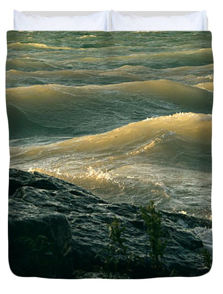 Golden Capped Sunset Waves Of Lake Michigan Duvet Cover