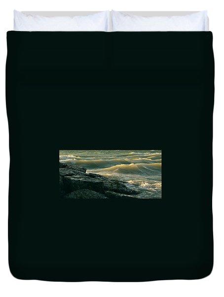 Golden Capped Sunset Waves Of Lake Michigan Duvet Cover