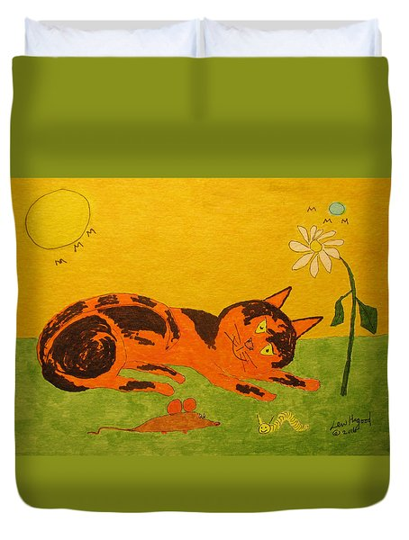Golden Cat Reclining Duvet Cover
