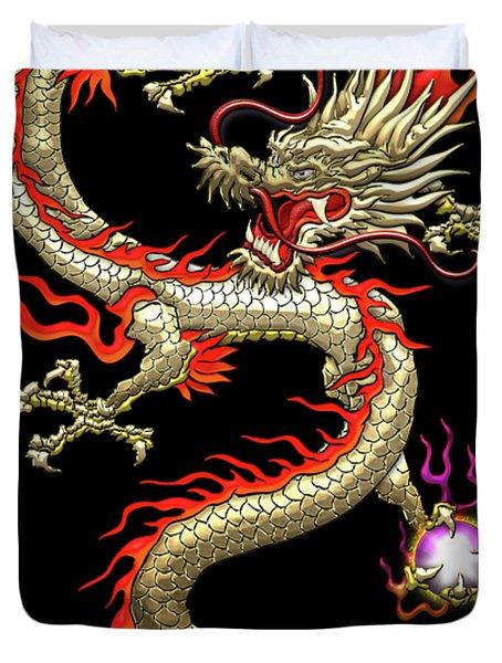 Golden Chinese Dragon Fucanglong On Black Silk Duvet Cover