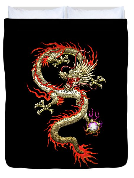 Golden Chinese Dragon Fucanglong On Black Silk Duvet Cover