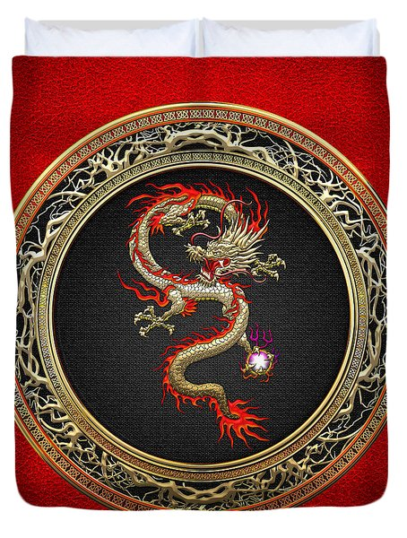 Golden Chinese Dragon Fucanglong On Red Leather  Duvet Cover by Serge Averbukh