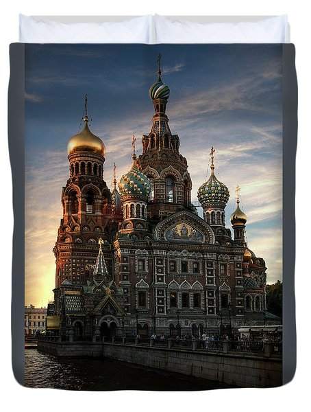 Golden Church Duvet Cover
