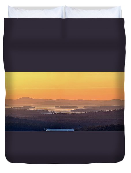 Golden Dawn Over Squam And Winnipesaukee Duvet Cover