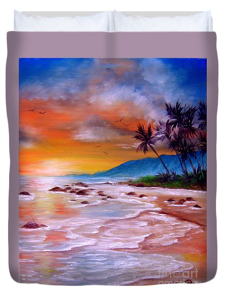 Duvet Cover featuring the painting Golden Dawn by Patrice Torrillo
