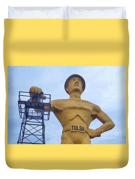 Golden Driller 76 Feet Tall Duvet Cover