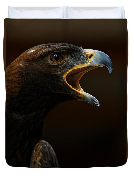 Duvet Cover featuring the photograph Golden Eagle - Gift Of Nature by Sue Harper