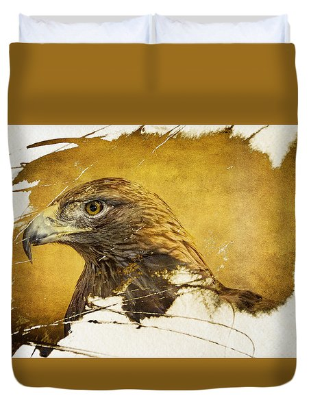 Golden Eagle Grunge Portrait Duvet Cover by Eleanor Abramson