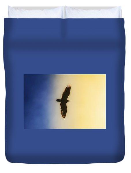 Golden Eagle Over Friday Harbor Duvet Cover