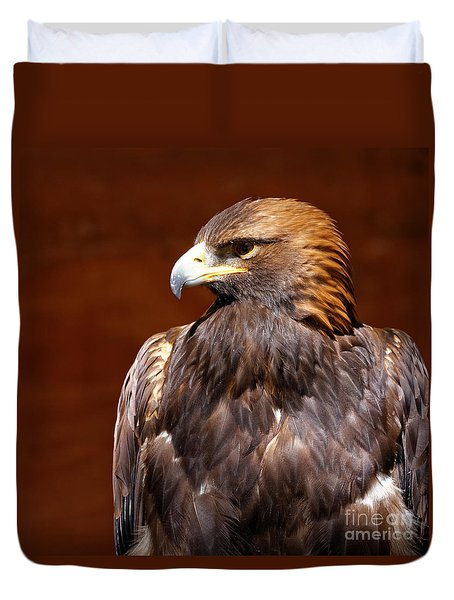 Duvet Cover featuring the photograph Golden Eagle - Royalty by Sue Harper