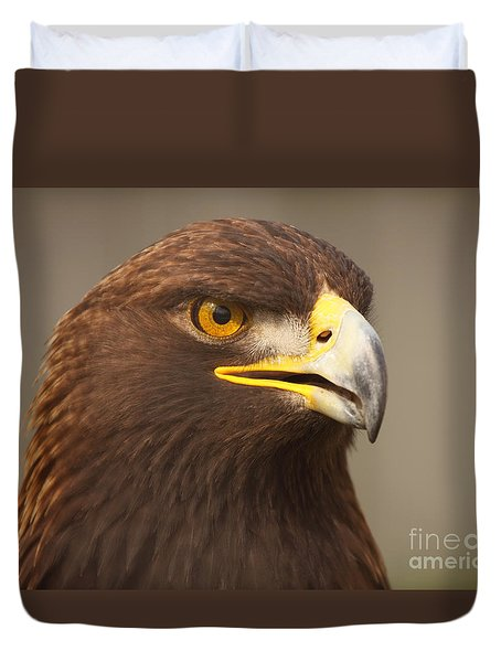 Duvet Cover featuring the photograph Golden Eagle Softly Calling by Max Allen