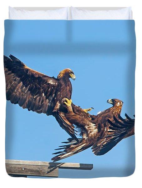 Golden Eagle Courtship Duvet Cover