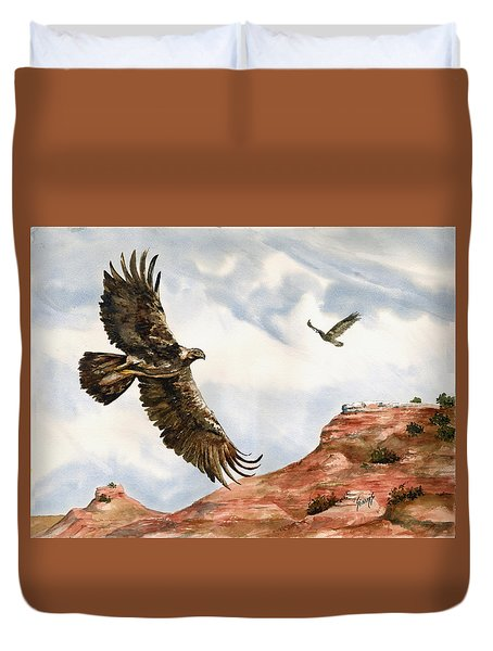 Golden Eagles In Fligh Duvet Cover