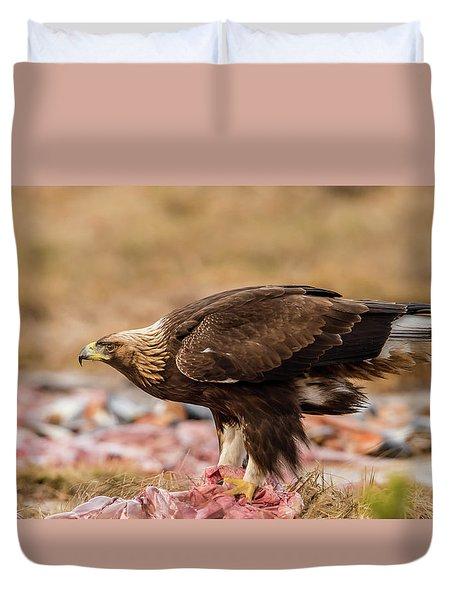Golden Eagle's Profile Duvet Cover by Torbjorn Swenelius