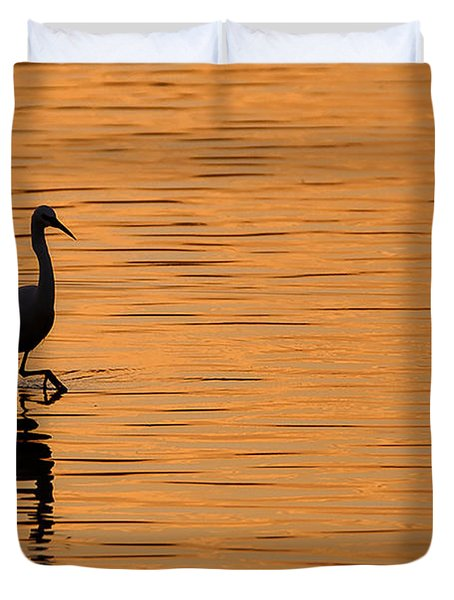 Golden Egret Duvet Cover