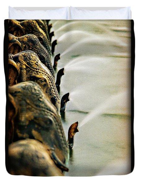 Golden Elephant Fountain Duvet Cover