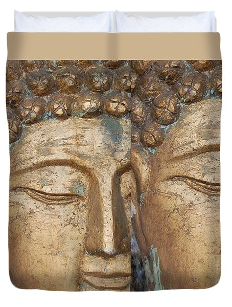 Golden Faces Of Buddha Duvet Cover