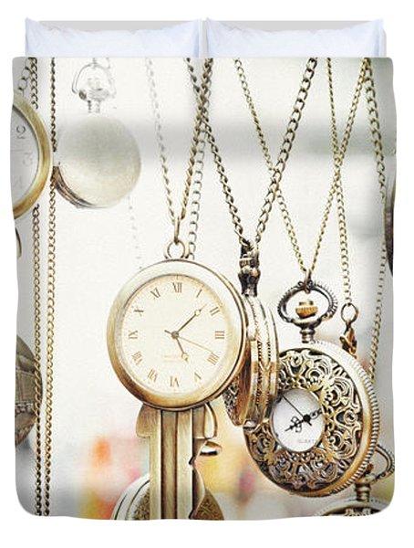 Golden Faces Of Time Duvet Cover