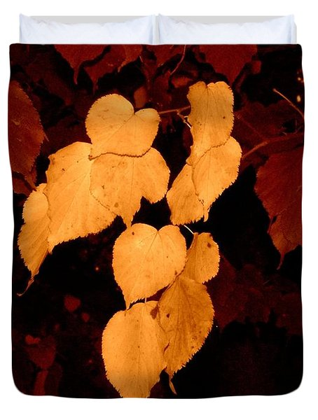 Golden Fall Leaves Duvet Cover