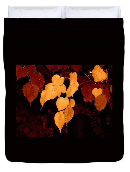 Duvet Cover featuring the photograph Golden Fall Leaves by Richard Ricci