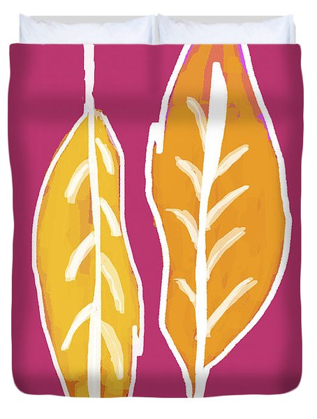 Duvet Cover featuring the painting Golden Feathers by Lisa Weedn