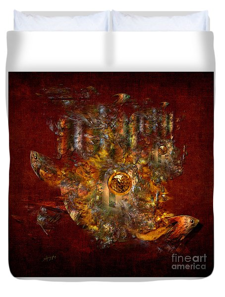 Duvet Cover featuring the digital art Golden Fish In The Lake by Alexa Szlavics