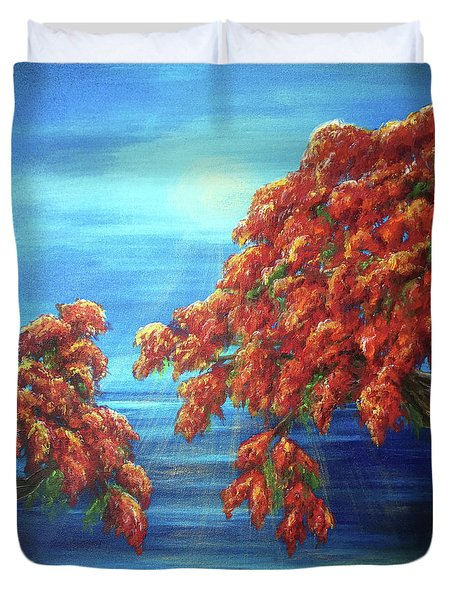 Golden Flame Tree Duvet Cover