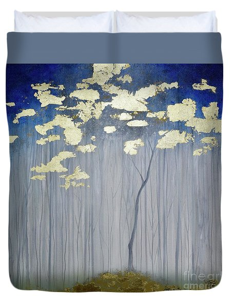 Duvet Cover featuring the painting Golden Forest by Mary Scott