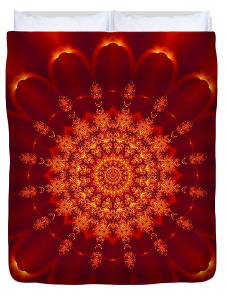 Golden Fractal Mandala Daisy Duvet Cover