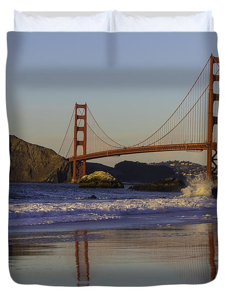Golden Gate And Waves Duvet Cover