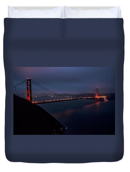 Golden Gate At Night Duvet Cover by Patrick Boening