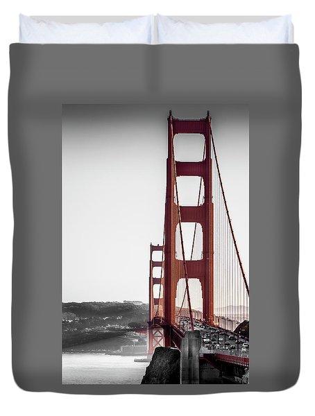 Golden Gate Black And Red Duvet Cover
