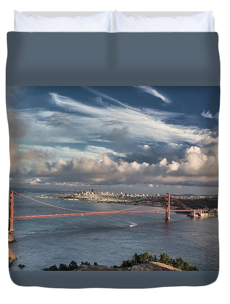 Golden Gate Bridge And San Francisco In Sunset Light Duvet Cover