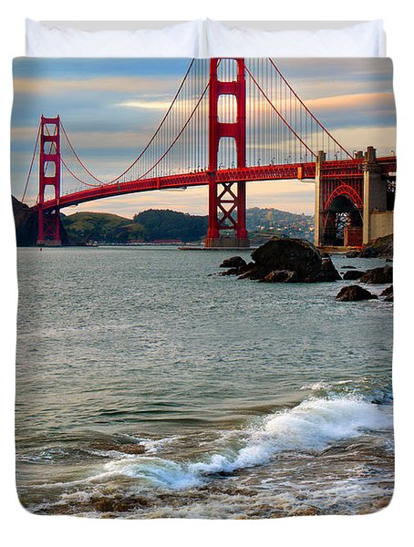 Golden Gate Bridge And The Pacific Ocean At Sunset With Waves Duvet Cover by Wernher Krutein