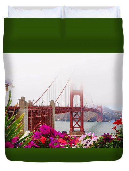Golden Gate Bridge Flowers 2 Duvet Cover