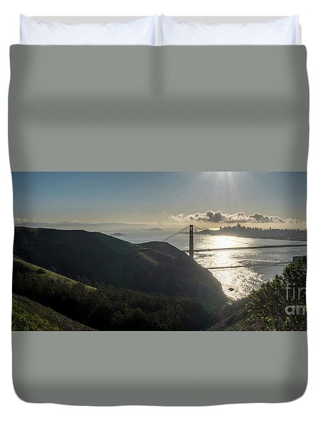 Golden Gate Bridge From The Road Up The Mountain Duvet Cover