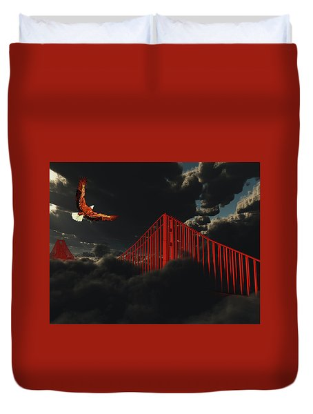 Golden Gate Bridge In Heavy Fog Clouds With Eagle Duvet Cover
