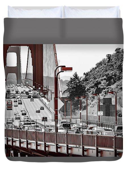 Golden Gate Bridge Street View Duvet Cover