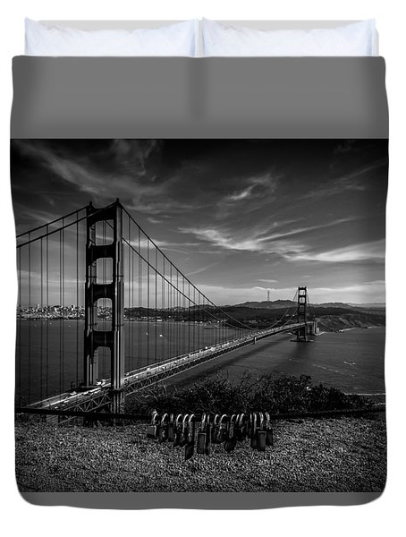 Golden Gate Bridge Locks Of Love Duvet Cover