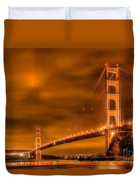 Golden Gate Bridge - Nightside Duvet Cover by Jim Carrell