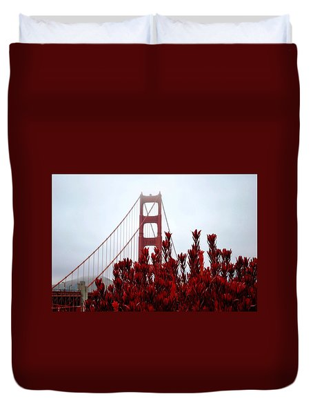 Golden Gate Bridge Red Flowers Duvet Cover