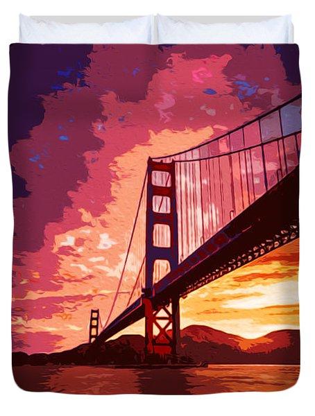 Golden Gate Bridge - San Francisco Duvet Cover by Andrea Mazzocchetti