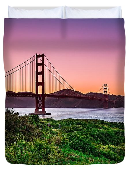 Golden Gate Bridge San Francisco California At Sunset Duvet Cover