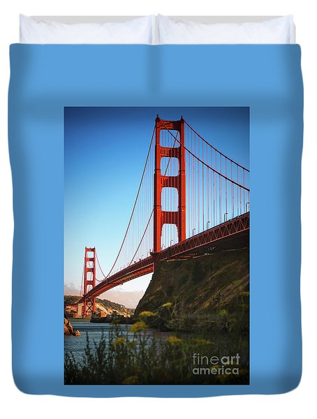 Golden Gate Bridge Sausalito Duvet Cover by Doug Sturgess