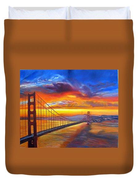 Golden Gate Bridge Sunset Duvet Cover by LaVonne Hand